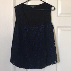 Karen Kane Front Lace blue and black tank 1x